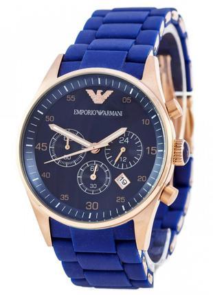 Наручные часы премиум Emporio Armani AR-5905 Gold-Blue Silicone