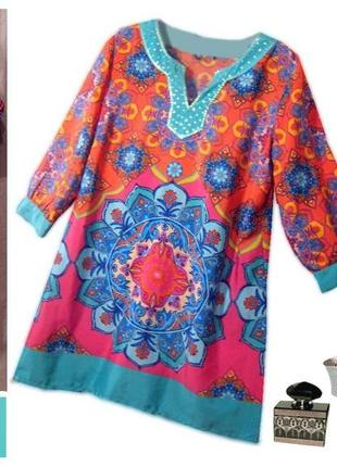 Яркое летнее платье-трапеция туника  в восточном стиле