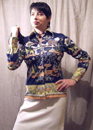 Блуза, яркая трикотажная  в сюжетный этно принт из hong kong к...