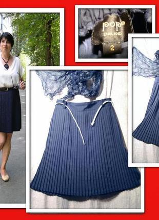 Юбка -плиссе, стильная юбочка цвета нави, мелкая плиссеровка н...