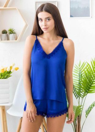 Mito melisa 1352 женская шелковая пижама синий с кружевом майк...