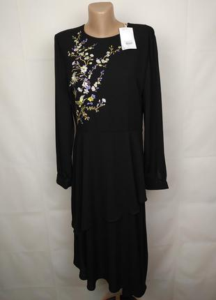 Платье шикарное новое с вышивкой а-симметричное warehouse uk 1...