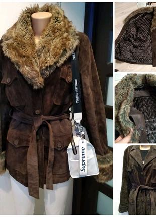 Натуральная замша стильный брэндовый пиджак жакет куртка