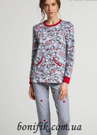 Утеплённый женский комплект пижамы с рисунком (арт. LNP 271/001)