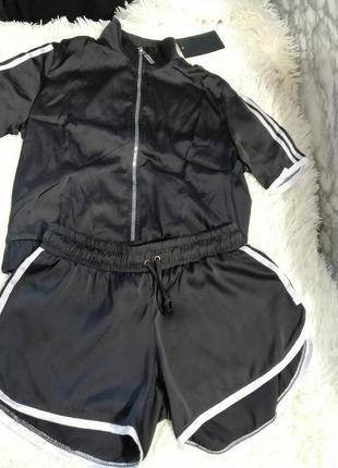 Летний костюм из эко шёлка с лампасами бёмбер и шортики