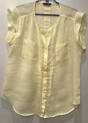 Легкая качественная блуза  желтая massimo-dutti р.42