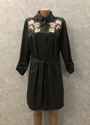 Платье рубашка котоновое с вышивкой