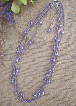 Ожерелье-чокер из бисера и бусин.