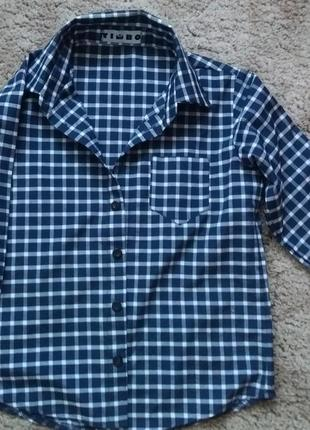 Сорочка timbo для хлопчика в клітинку,  розмір 128 см.