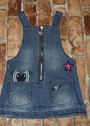 Платье девочке джинсовый сарафан 1 год f&f