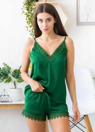 Mito melisa женская шелковая пижама зеленная с кружевом майка ...