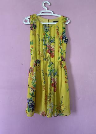 Яркое солнечное платье цветочный принт