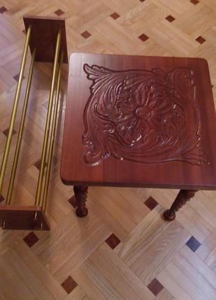 Журнальный стол, обувница. Художественная резьба по дереву.
