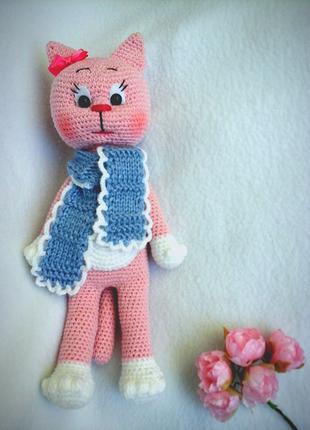 Игрушка крючком Кошечка-модница  амигуруми handmade