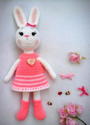 Замечательная Зайка в платье  крючком handmade