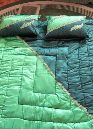 Пуховое двуспальное одеяло + 2 подушки