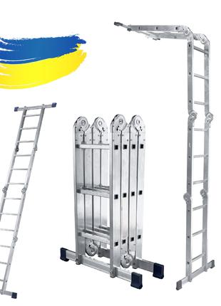 Шарнирная лестница трансформер алюминиевая