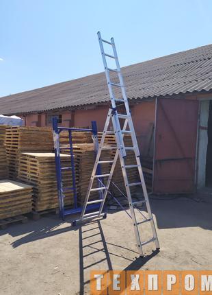 Лестницы выдвижные трехсекционные алюминиевые