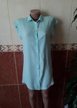 Туника платье рубашка  мятного цвета