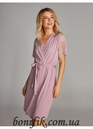 Женский халат на запах с кружевными рукавами арт. LDG 096/001