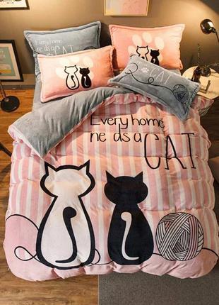 """Двухспальный комплект постельного белья из бязи голд""""cat(котик)"""""""