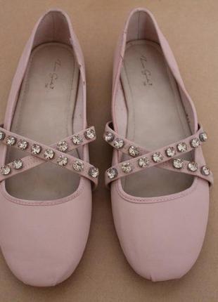 Zara girl балетки нарядные туфельки с камушками на девочку