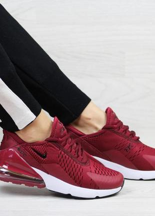 Прекрасные женские кроссовки nike air max 270 бордовые