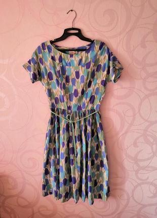 Платье с принтом тюльпаны, винтажное платье на новый год, винт...