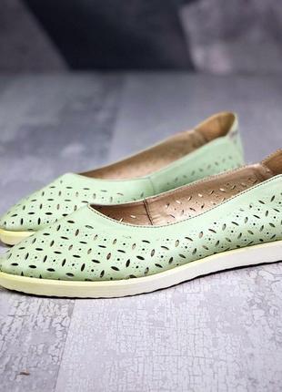 Акция ❤ женские зеленые  кожаные балетки туфли  ❤