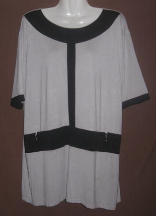Блузка женская серая, большой  58 размер. Дешево  Рукав короткий