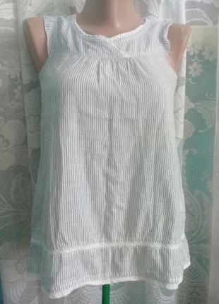 Легкая хлопковая блуза в полоску