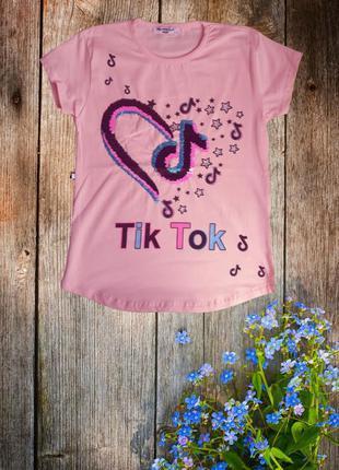 Яркая детская футболка tiktok для девочки