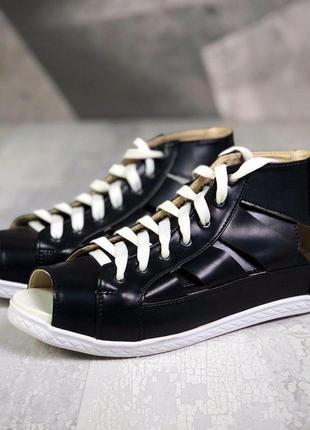 Акция ❤ женские черные кожаные  сандалии босоножки ❤