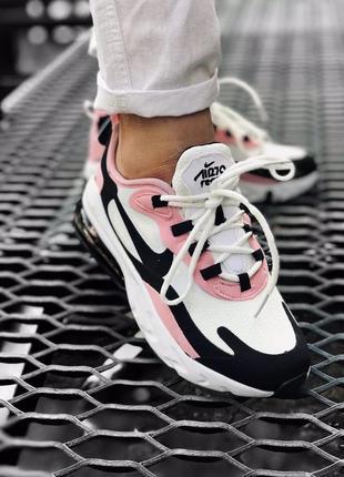 Отличные женские кроссовки nike air max react 270 белые с чёрн...