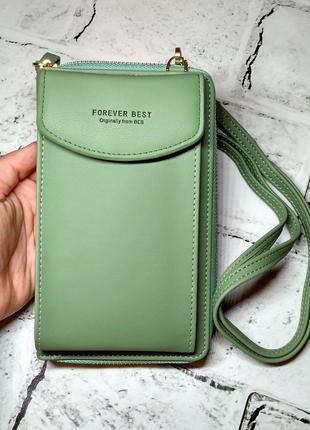 Кошелек клатч женский зеленый, портмоне