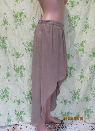 Шифоновая юбка со шлейфом/кофейная с золотистым напылением