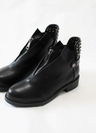Женские черные демисезонные ботинки (полуботинки) из эко-кожи