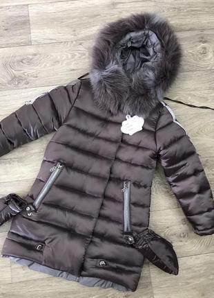 Шикарная новинка, зимняя куртка, натуральный мех