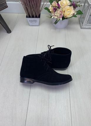 Натуральная замша люксовые ботиночки на шнурках