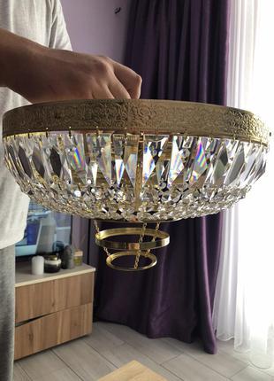 Новая чешская люстра из настоящего богемского хрусталя