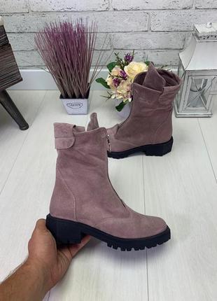 Натуральная замша люксовые сапоги ботинки на грубом каблуке