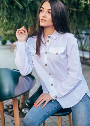 Женская рубашка блуза белая удлиненная сзади
