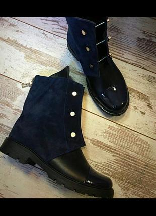 Ботинки нат.замша +кожа+лак