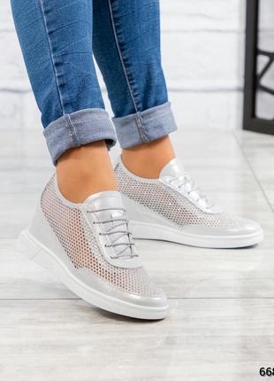 ❤ женские серебристые кожаные кроссовки  сникерсы❤