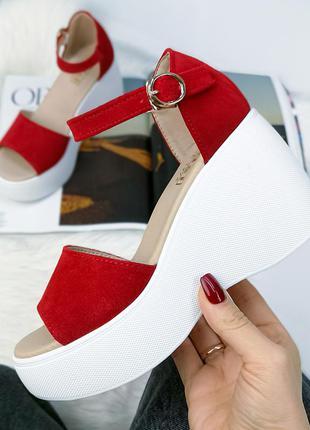❤ женские  красные замшевые босоножки  ❤