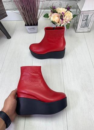 Осень натуральная кожа люксовые ботинки на платформе на танкетке