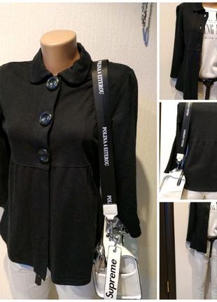 Стильный брэндовый черный кардиган накидка кофта пиджак жакет