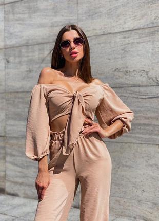 Жіночий лляний костюм двійка штани брюки топ на зав'язки