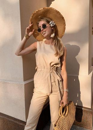Лляний жіночий костюм двійка сорочка рубашка з поясом штани брюки