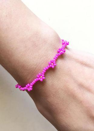 Розовый бисерный браслет, браслет из бисера, фенечка из бисера...